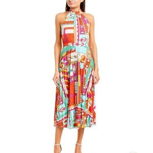 Donna Morgan Abstract Colorful Pleated Midi Dress